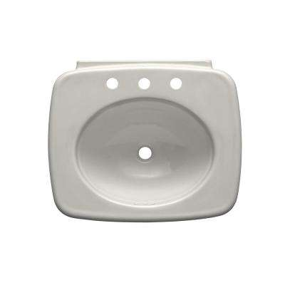 Bancroft 5 in. Top-Mount Vitreous China Sink Basin in Biscuit with Overflow Drain