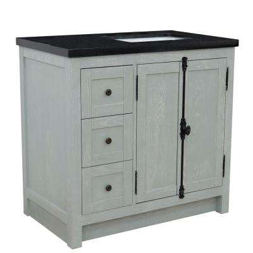 37 in. W x22 in. D x 36 in. H Bath Vanity in Gray Ash with Black Granite Vanity Top and Right Side Rectangular Sink