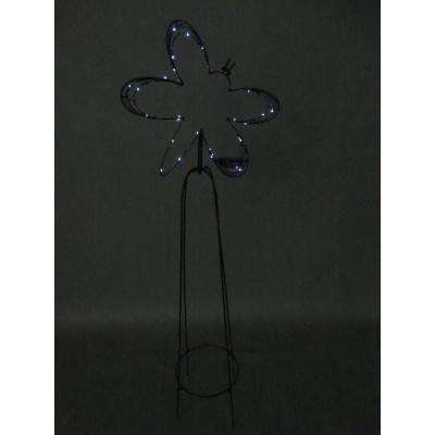 52 in. Solar Metal Butterfly Garden Trellis with 30-LED Lights