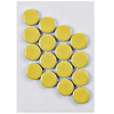 Hudson Penny Round Vintage Yellow Porcelain Mosaic Tile - 3 in. x 4 in. Tile Sample