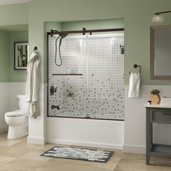 Simplicity 60 x 58-3/4 in. Frameless Contemporary Sliding Bathtub Door in Bronze with Mozaic Glass