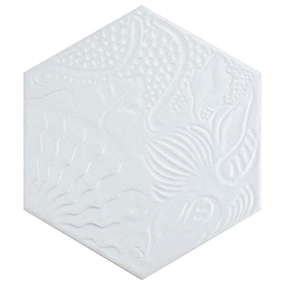 Merola tile gaudi hex white 8 5 8 in x 9 7 8 in for 10 x 9 square feet