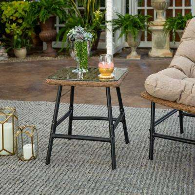 Natural Wicker Outdoor Side Table with Glass Top