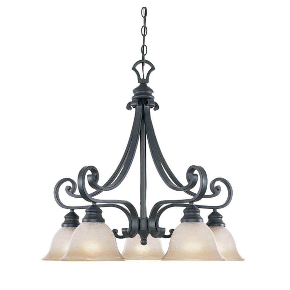 Designers fountain monte carlo 5 light hanging natural iron designers fountain monte carlo 5 light hanging natural iron chandelier 96185 ni the home depot arubaitofo Image collections
