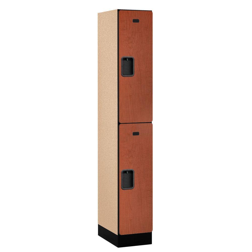 Salsbury Industries 32000 Series 12 in. W x 76 in. H x 18 in. D 2-Tier Designer Wood Locker in Cherry