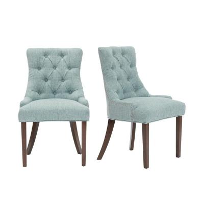 Bakerford Walnut Finish Upholstered Dining Chair with Back and Aloe Green Seat (Set of 2) (21.85 in. W x 36.22 in. H)