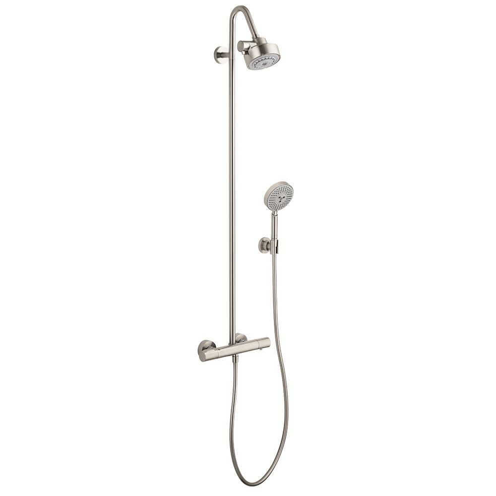 hansgrohe axor citterio m shower pipe in brushed nickel 34640821 the home depot. Black Bedroom Furniture Sets. Home Design Ideas