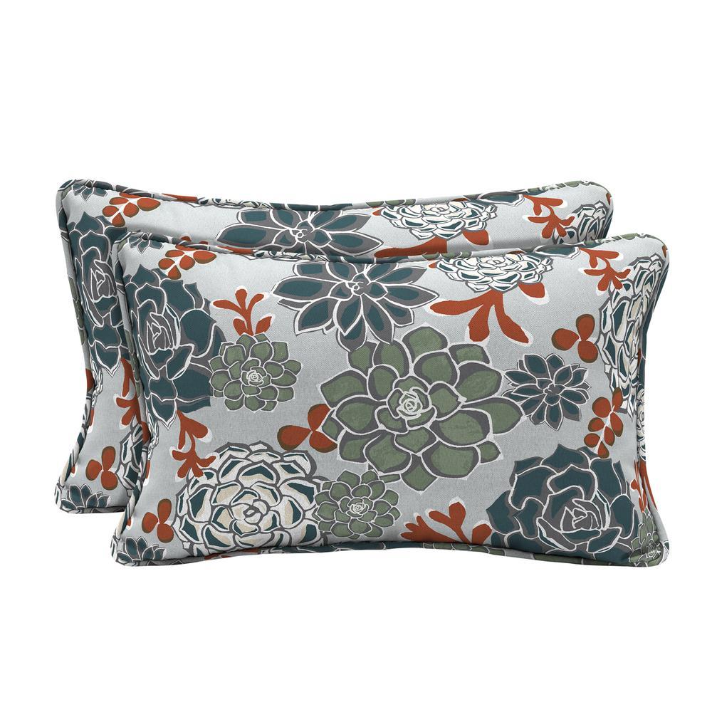 Hampton Bay Shadow Gray Succulents Lumbar Outdoor Throw Pillow 2 Pack Tk23108b D9d2 The Home Depot