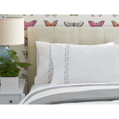 Cabana Stripe White/Grey Embroidered Arrows King Pillowcases (Set of 2)
