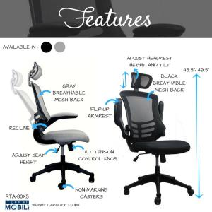 +5  sc 1 st  Home Depot & Silver Grey Modern High-Back Mesh Executive office Chair with ...