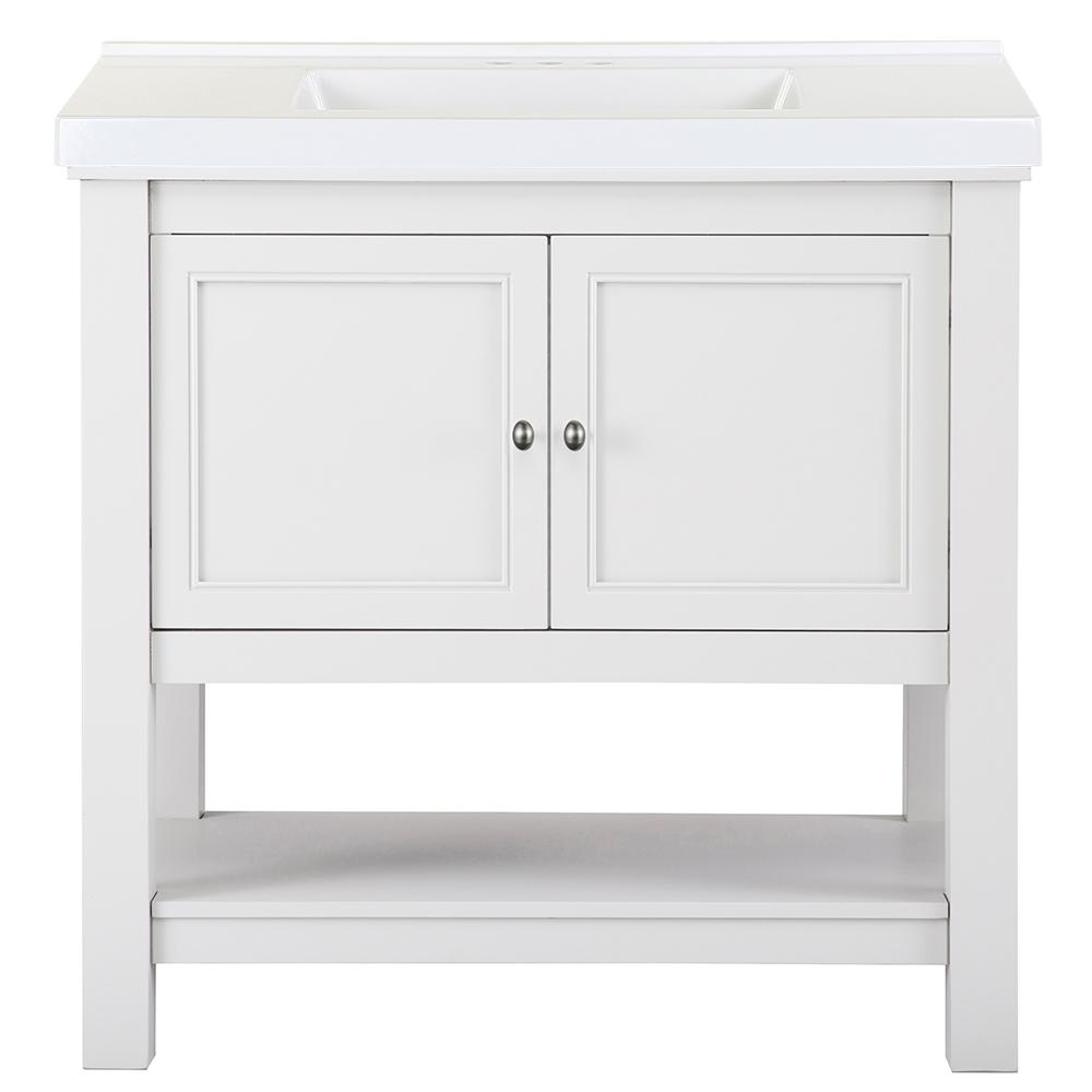 Home Decorators Collection Gazette 37 in. W x 22 in. D Bath Vanity in White with Cultured Marble Vanity Top in White with White Sink was $839.0 now $503.4 (40.0% off)
