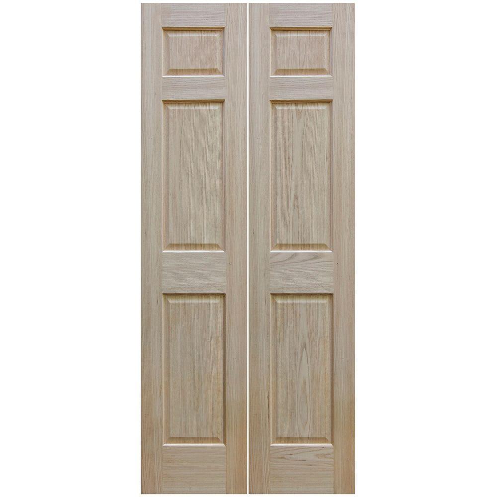 30 in. x 80 in. Unfinished 6-Panel Solid Core Red Oak Interior Bi-Fold Door