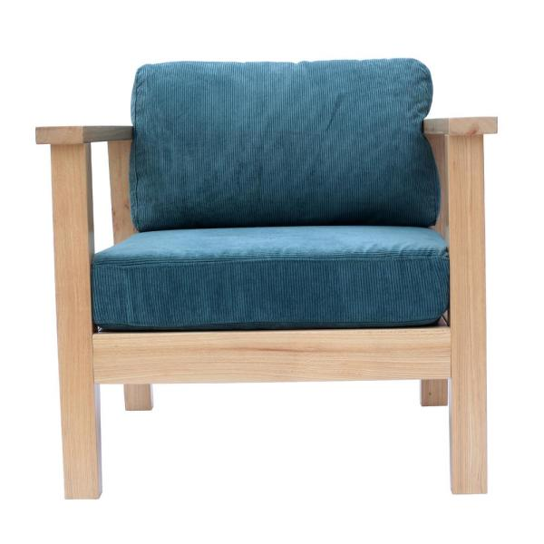 Wooden Farmhouse Classic Single Arm Living Room Chair with Coduroy Upholstery and Natural Wood (Nile Blue)