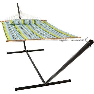 10-1/2 ft. Quilted Fabric Hammock with 15 ft. Hammock Stand in Blue and Green