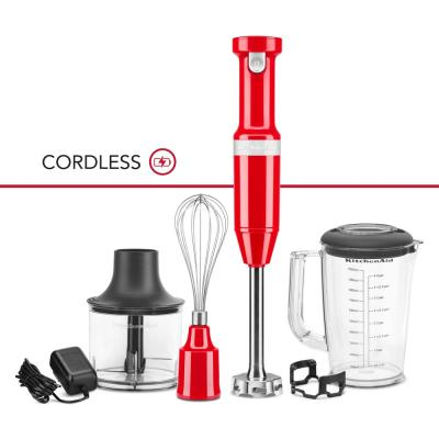 Cordless Variable Speed Passion Red Hand Blender with Chopper and Whisk attachment