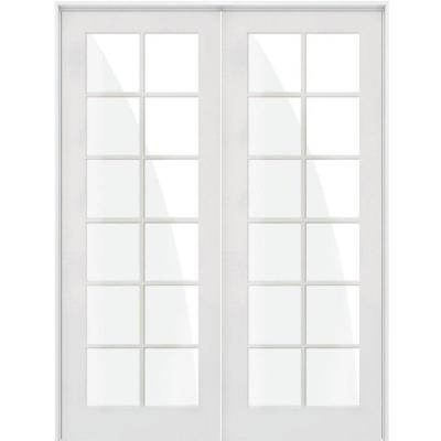48 in. x 96 in. Craftsman Shaker 12-Lite Both Active MDF Solid Hybrid Core Double Prehung Interior Door