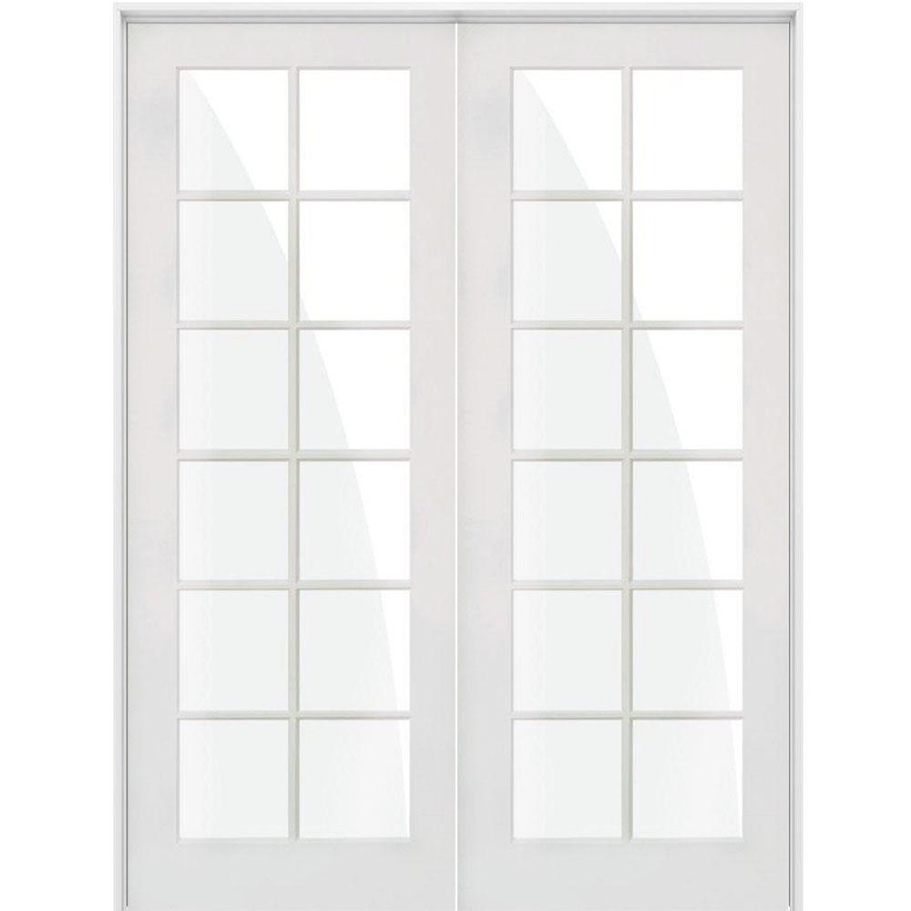 72 in. x 96 in. Craftsman Shaker 12-Lite Both Active MDF Solid Hybrid Core Double Prehung Interior Door