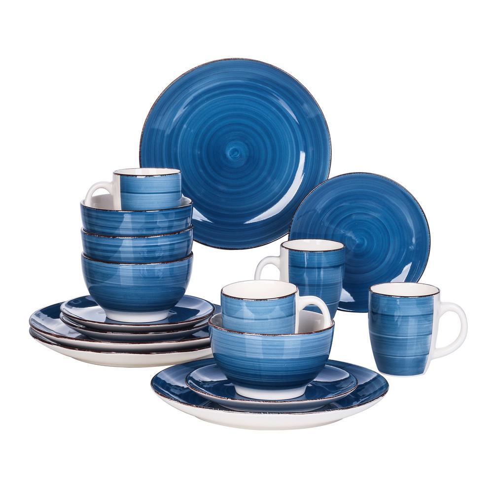 16-Piece Boyel Living Modern Concentric Circles Blue Porcelain Dinnerware Sets (Service for Set for 4)