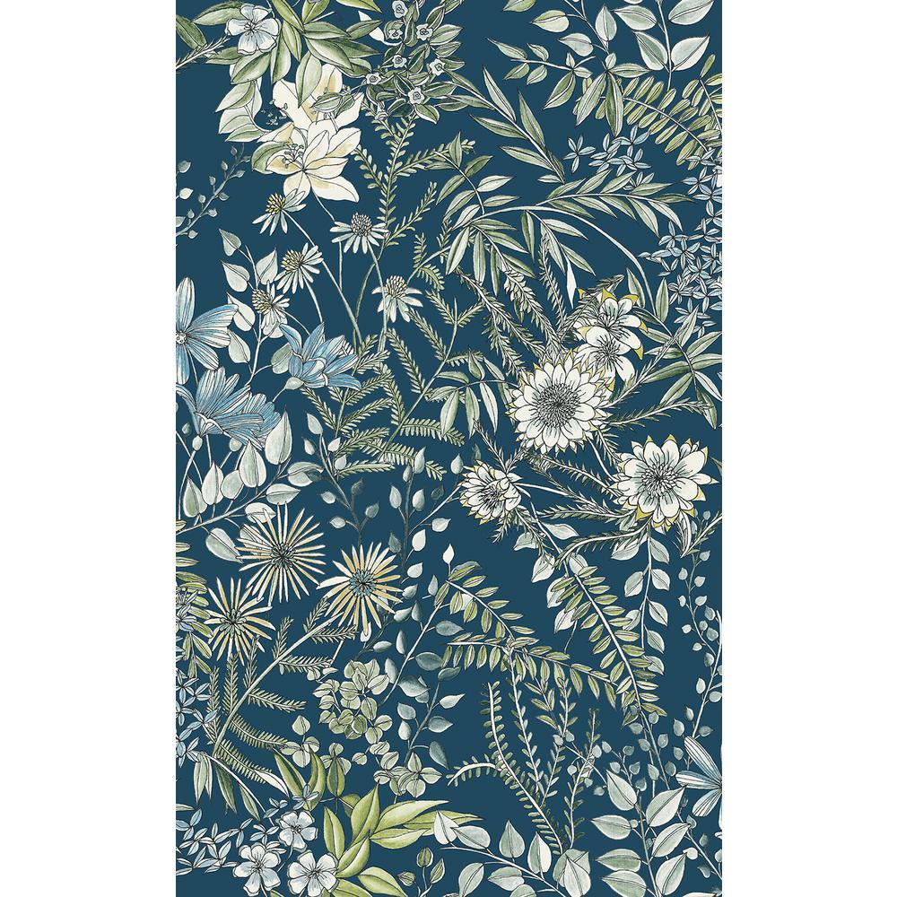 56.4 sq. ft. Full Bloom Navy Floral Wallpaper