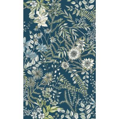 56.4 sq. ft. Full Bloom Navy Floral Wallpaper
