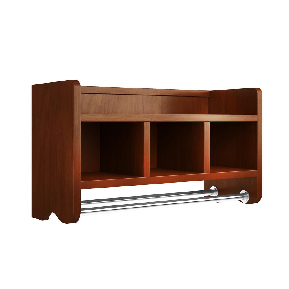 W Bath Storage Shelf With Towel Rod In Chestnut