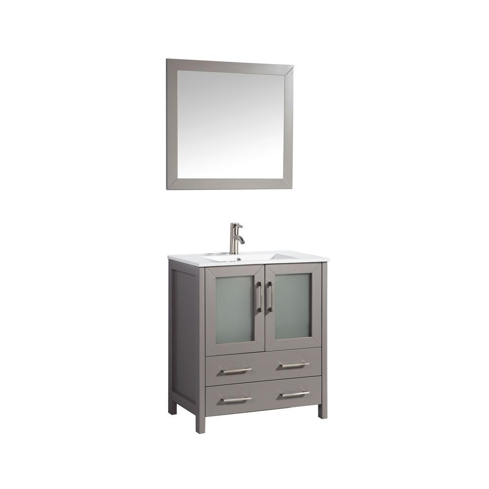 Vanity Art Brescia 30 in. W x 18 in. D x 36 in. H Bath Vanity In Grey with Vanity Top in White with White Basin and Mirror