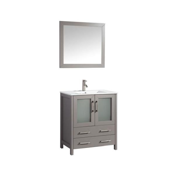 Brescia 30 in. W x 18 in. D x 36 in. H Bath Vanity In Grey with Vanity Top in White with White Basin and Mirror