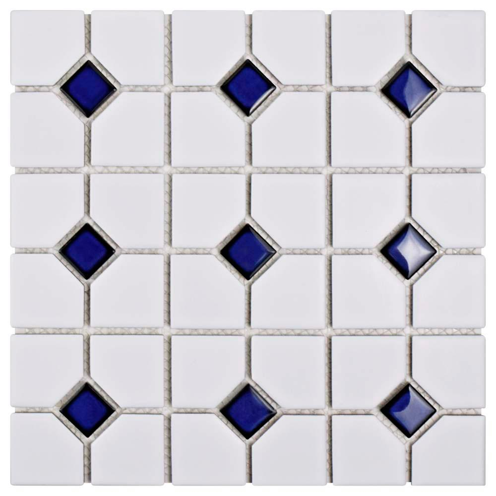 Merola Tile Oxford Matte White with Cobalt Dot 11-1/2 in. x 11-1/2 in. x 6 mm Porcelain Mosaic Tile (9.2 sq. ft. / case)