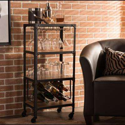 Swanson Medium Brown Wine Cart with Wine Glass Storage