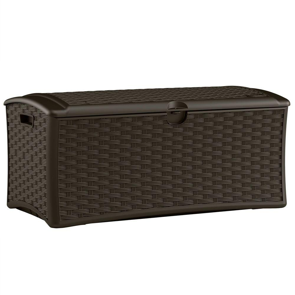 Suncast 72 Gal Resin Wicker Deck Box Dbw7000 The Home Depot