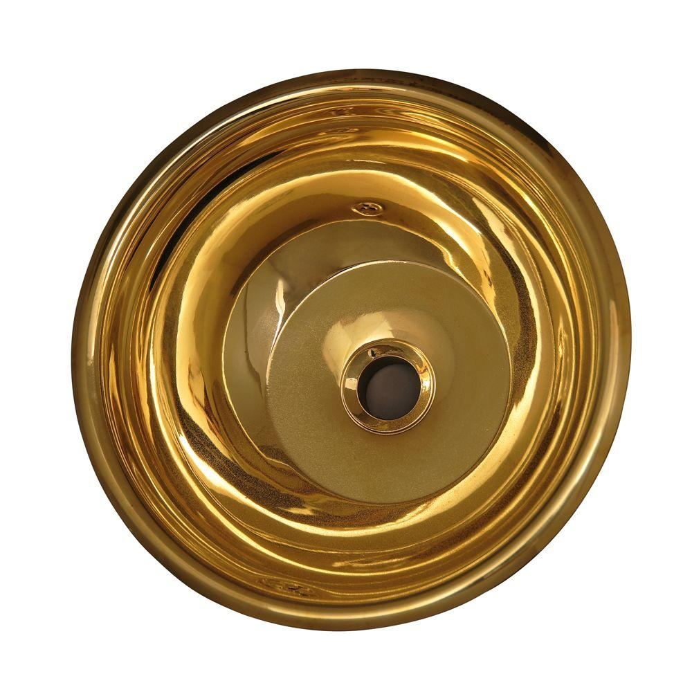 Pegasus Self-Rimming Round Bathroom Sink in Polished Brass-DISCONTINUED