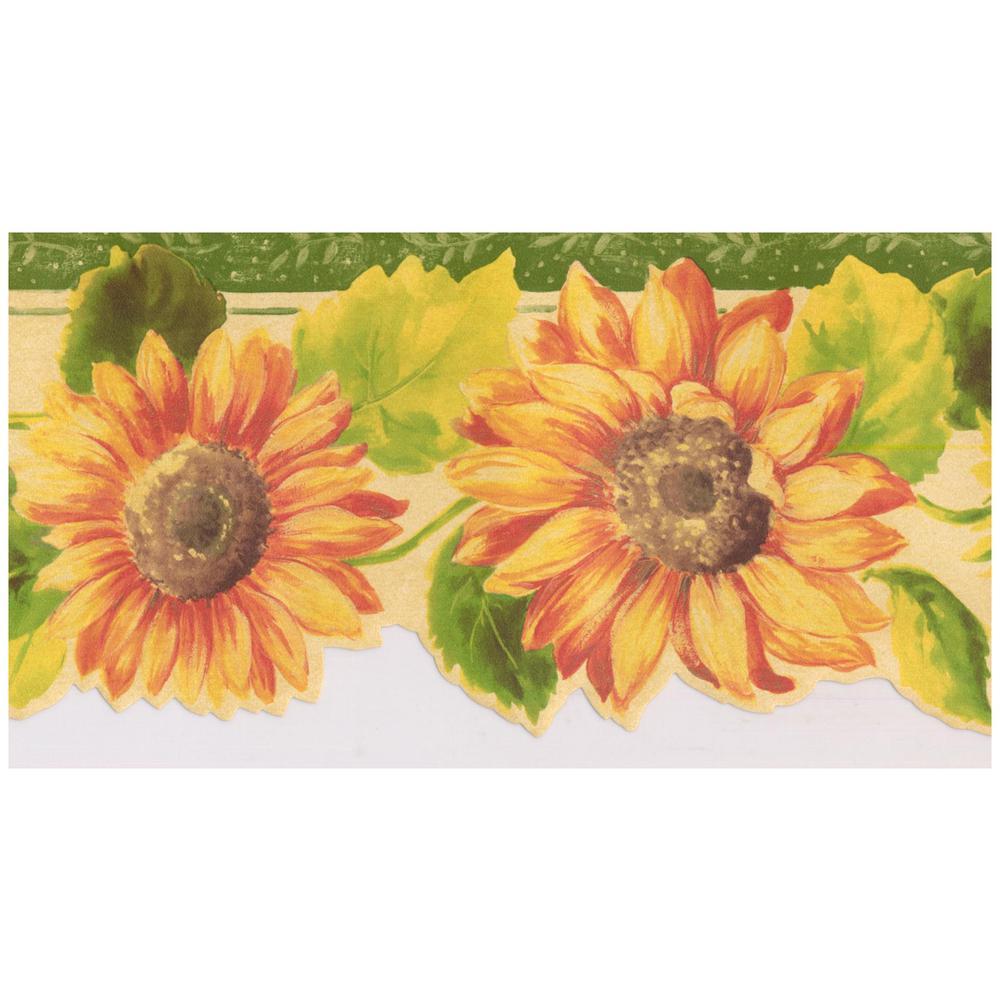 Norwall Orange Yellow Sunflowers Emerald Green Trim Scalloped