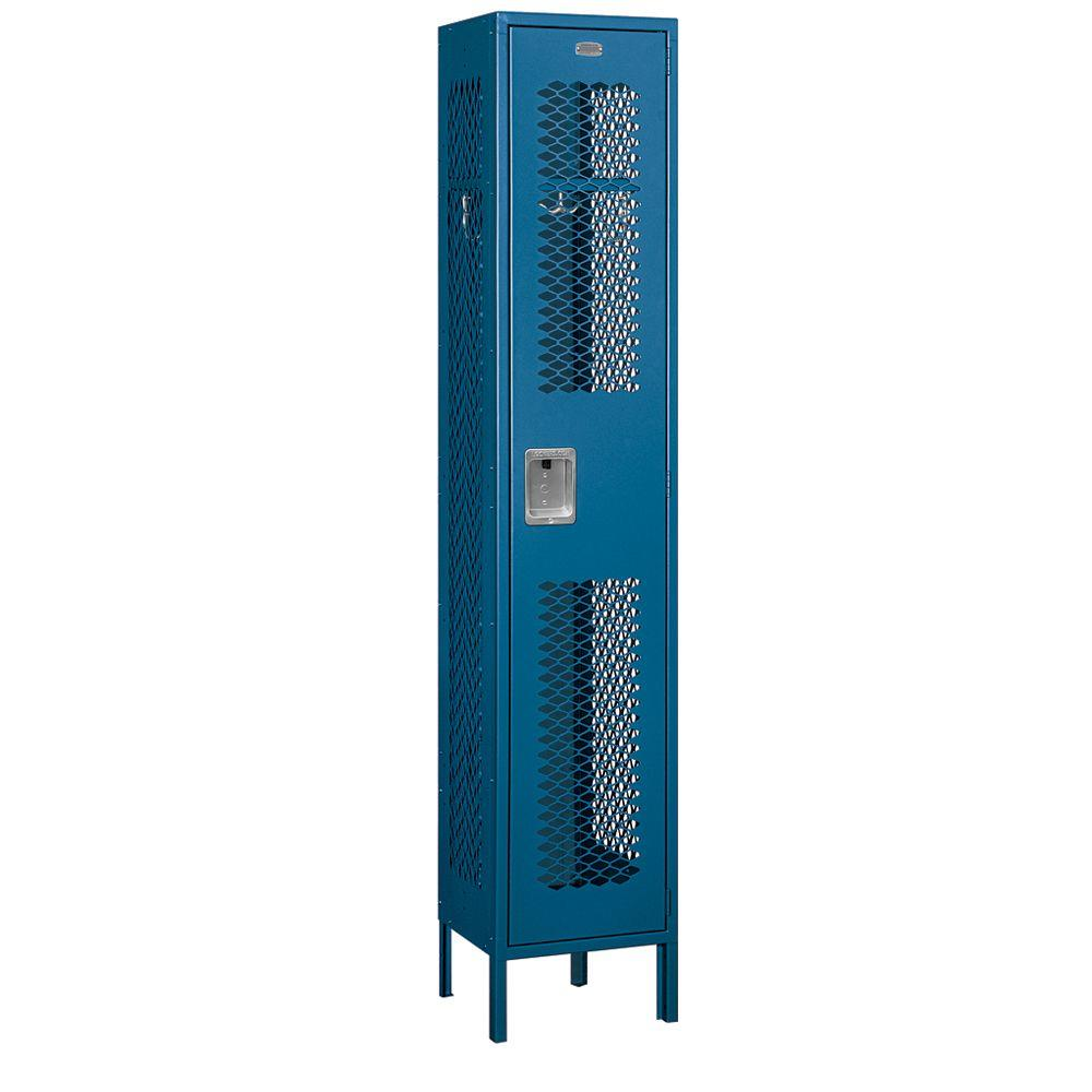 Salsbury Industries 81000 Series 15 in. W x 78 in. H x 15 in. D Single Tier Extra Wide Vented Metal Locker Unassembled in Blue