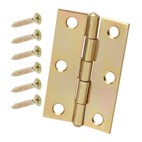 3 in. Satin Brass Non-Removable Pin Narrow Utility Hinge (2-Pack)