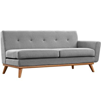 Engage 73 in. Expectation Gray Polyester 2-Seater Right-Facing Loveseat with Wood Legs