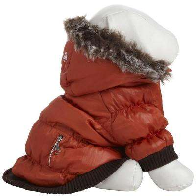 Medium Orange Metallic Fashion Parka with Removable Hood