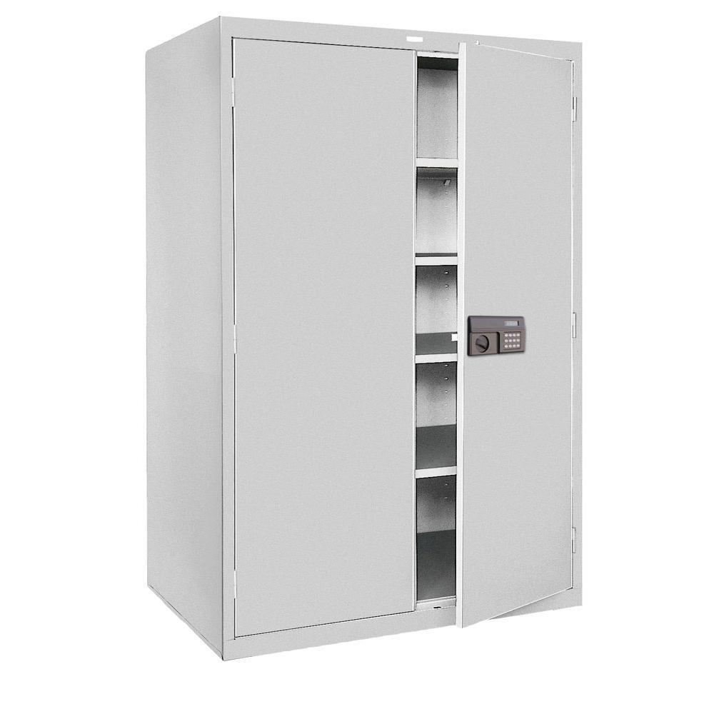 Sandusky 78 in. H x 48 in.W x 24 in. D 5-Shelf Steel Quick Assembly Keyless Electronic Coded Storage Cabinet in Gray