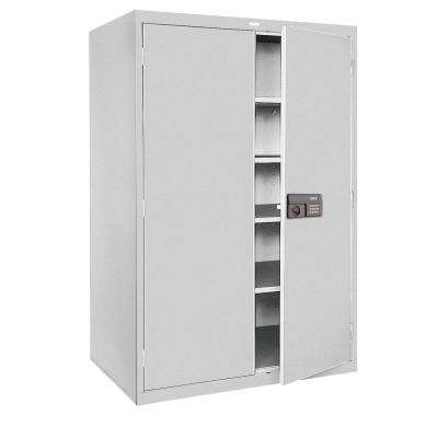 78 in. H x 48 in.W x 24 in. D 5-Shelf Steel Quick Assembly Keyless Electronic Coded Storage Cabinet in Gray