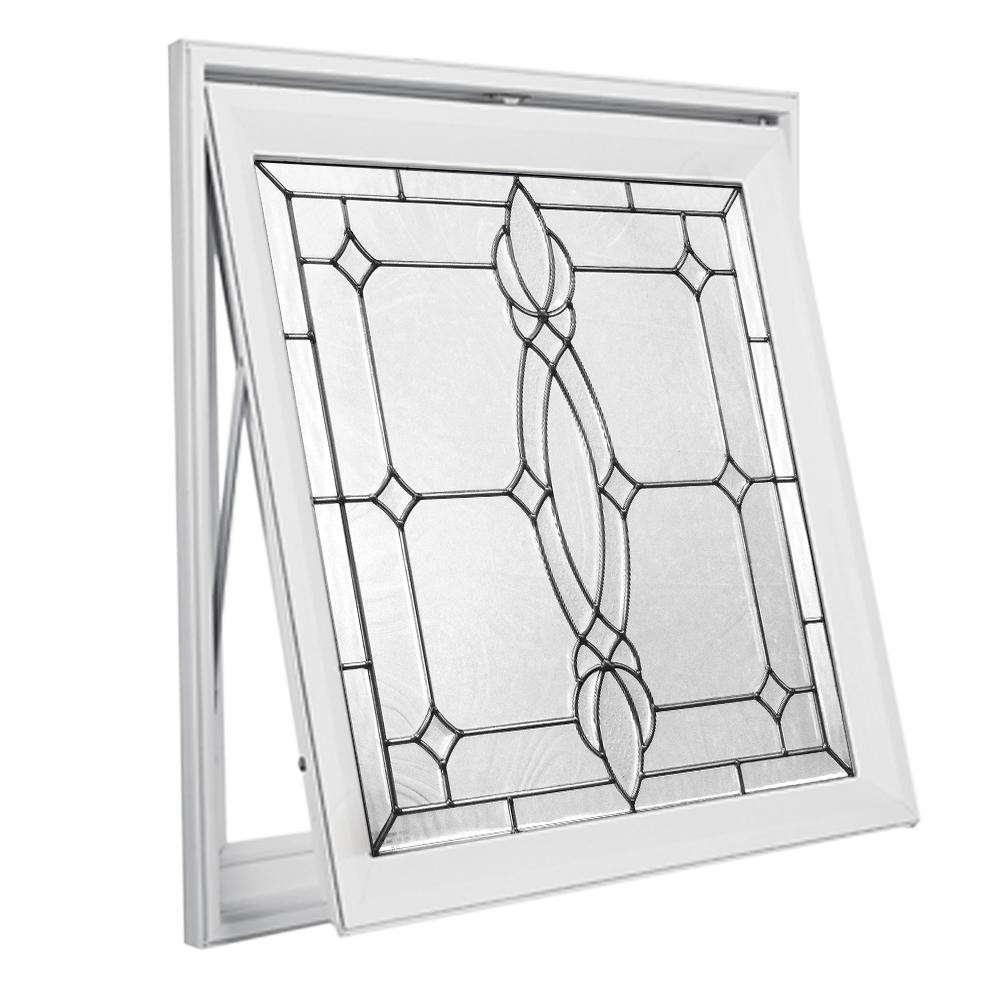 Hy-Lite 28.5 in. x 28.5 in. Decorative Glass Awning Vinyl Window - White