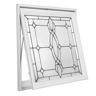 28.5 in. x 28.5 in. Decorative Glass Awning Vinyl Window - White