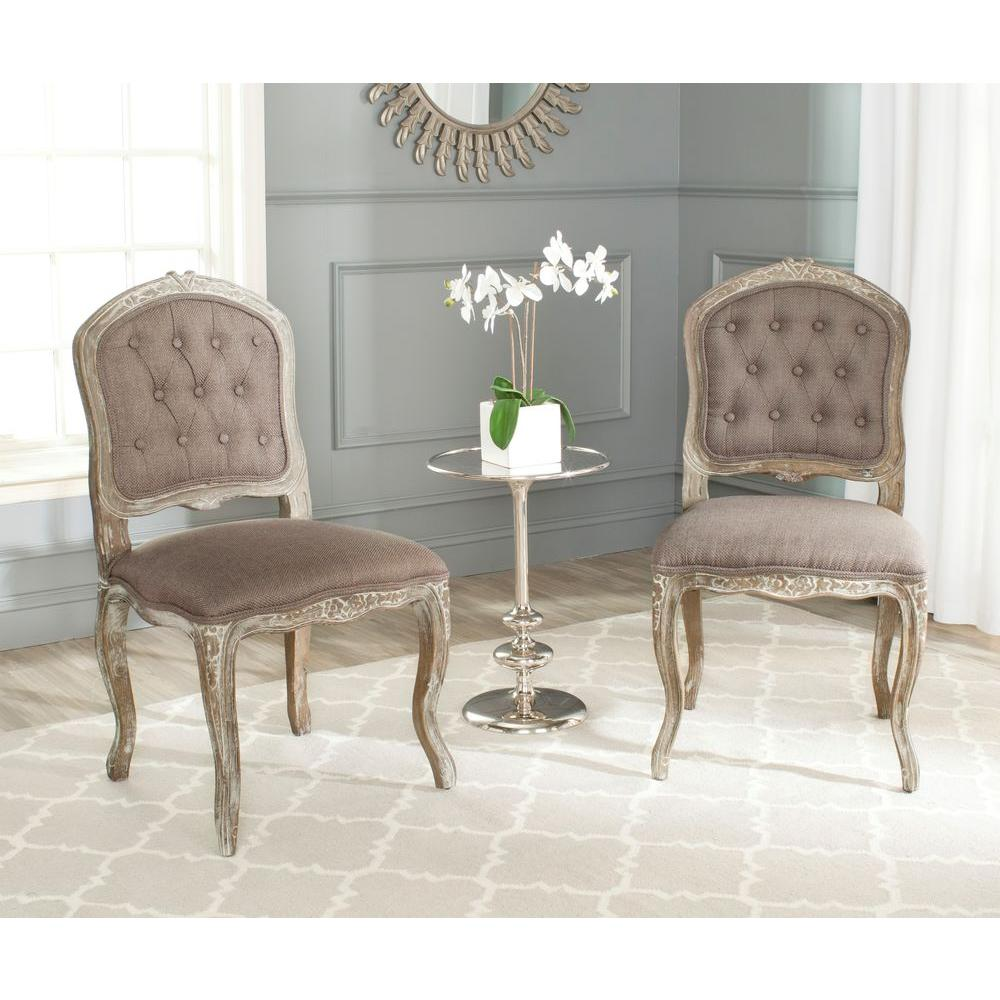 Safavieh Carissa Chinchilla Brown Cotton Blend Side Chair (Set of 2)