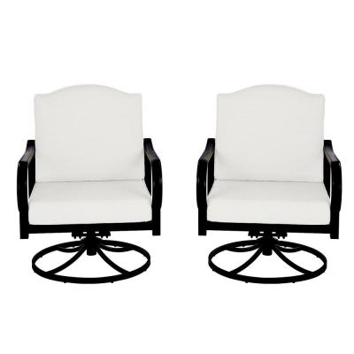 Laurel Oaks Brown Steel Outdoor Patio Lounge Chair with Cushion Guard Chalk White Cushions (2-Pack)