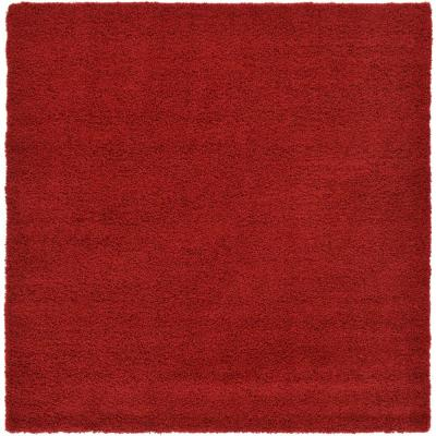 Unique Loom Solid Shag Cherry Red 8 Ft Square Area Rug 3126273 The Home Depot