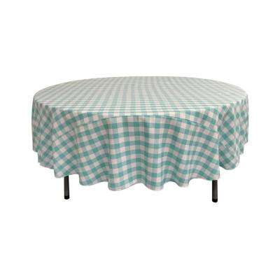 90 in. White and Mint Polyester Gingham Checkered Round Tablecloth