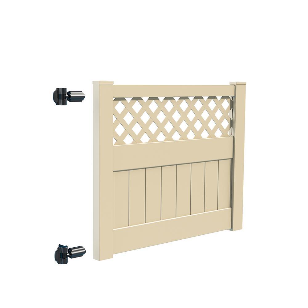 Carlsbad 5 ft. W x 4 ft. H Sand Vinyl Un-Assembled Fence Gate