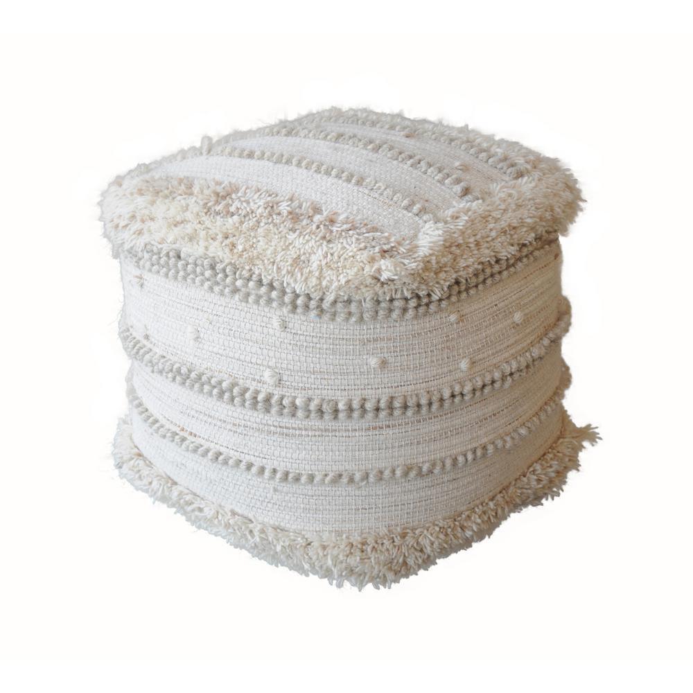 Nabisco Ivory Wool Pouf