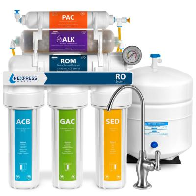Alkaline Reverse Osmosis Water Filtration System - 10 Stage Mineralizing Filter - pH +, Antioxidant - 100 GPD with Gauge