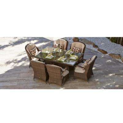 Ozark Brown 7-Piece Wicker Rectangular Outdoor Dining Set with Beige Cushion