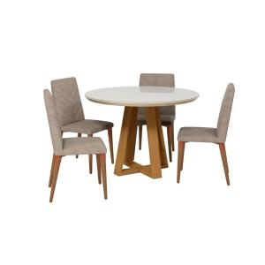 Fine Luxor Rochelle 45 27 In 5 Piece Off White And Grey Round Gmtry Best Dining Table And Chair Ideas Images Gmtryco