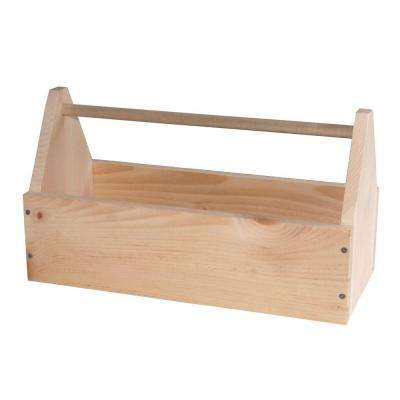 8.25 In. Unfinished Wood Large Tool Box or Garden Tote Kit